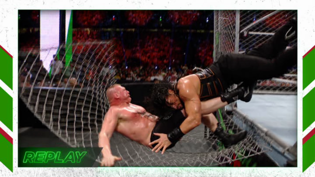 WWE - Roman Reigns Spears Brock Lesnar Through A Steel Cage!