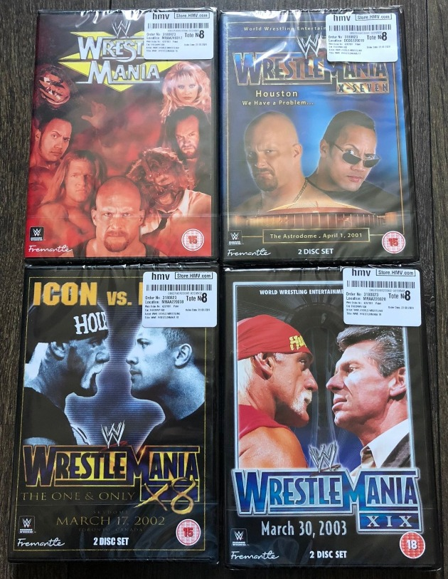 Classic WWE WrestleMania 15, 17, 18 & 19 DVD Re-Releases
