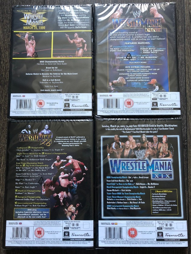 UK Re-Releases of WWE WrestleMania 15, 17, 18 & 19 DVDs