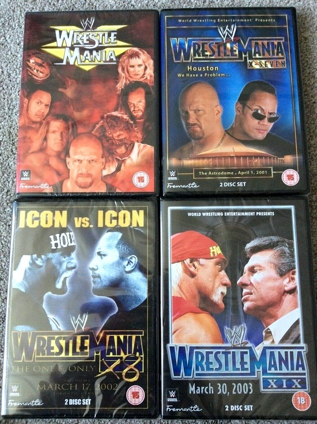 WWE WrestleMania 15, 17, 19 and 10 DVDs - 2020 UK Re-Releases
