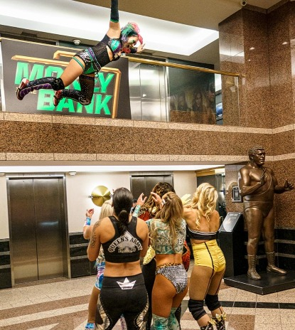 WWE - Asuka Jumping Off Ledge in WWE Headquarters, Money in the Bank Match