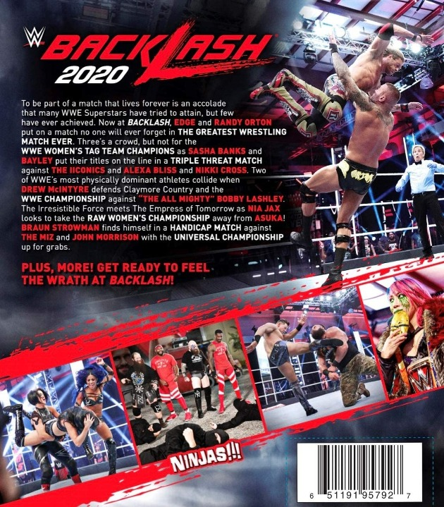 WWE Backlash 2020 DVD - Back Cover Artwork