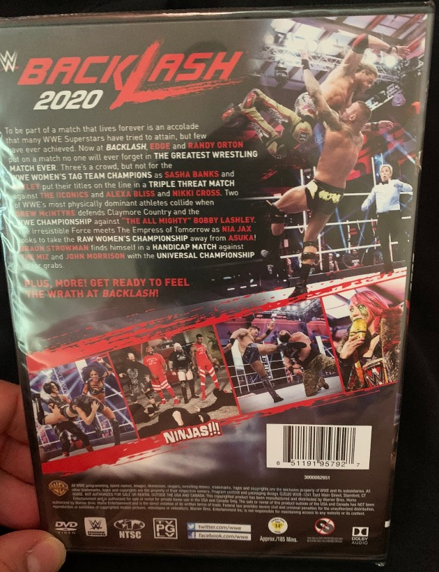 WWE Backlash 2020 DVD - Photos, Back Cover