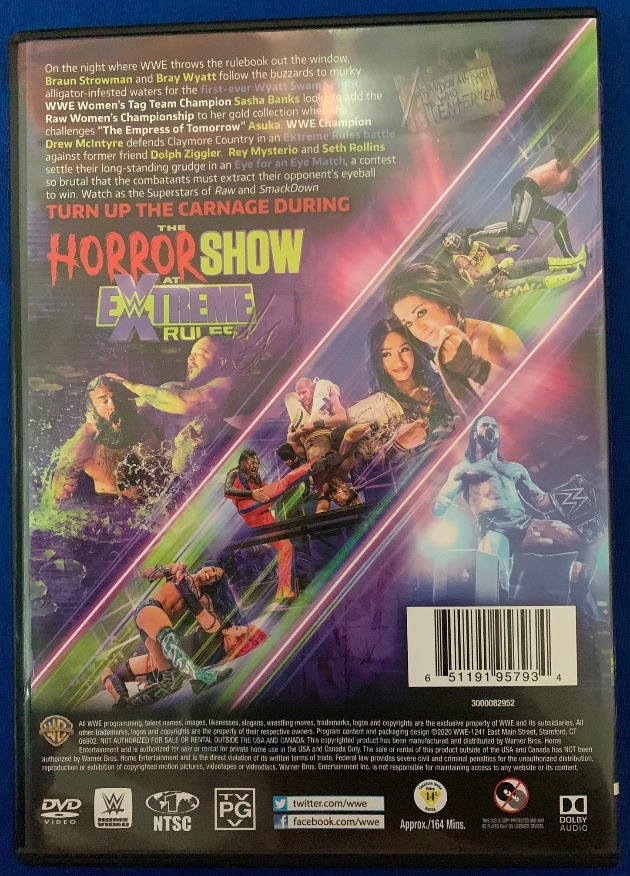 WWE Horror Show at Extreme Rules 2020 DVD - Photos, Back Cover