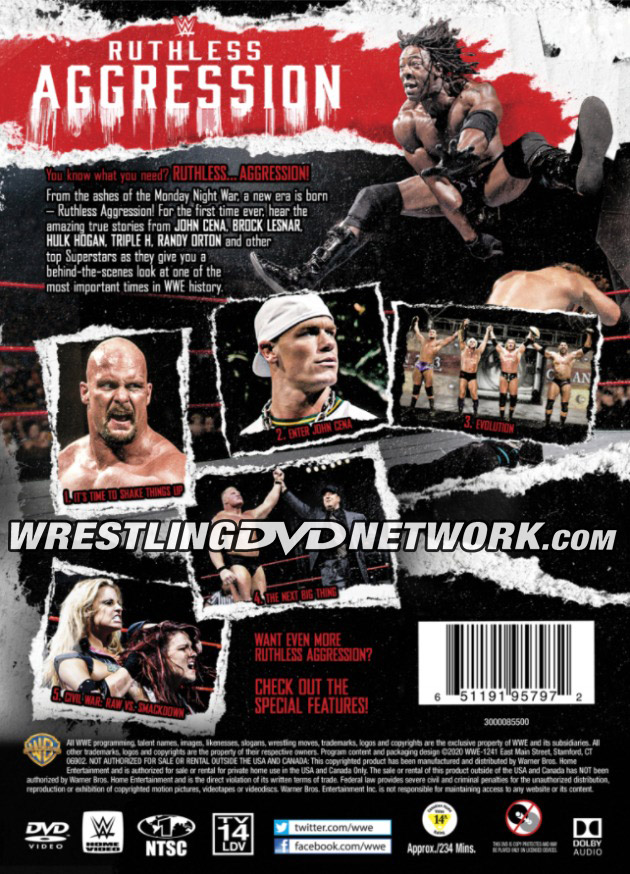 WWE 'Ruthless Aggression Vol. 1' DVD - Back Cover Artwork