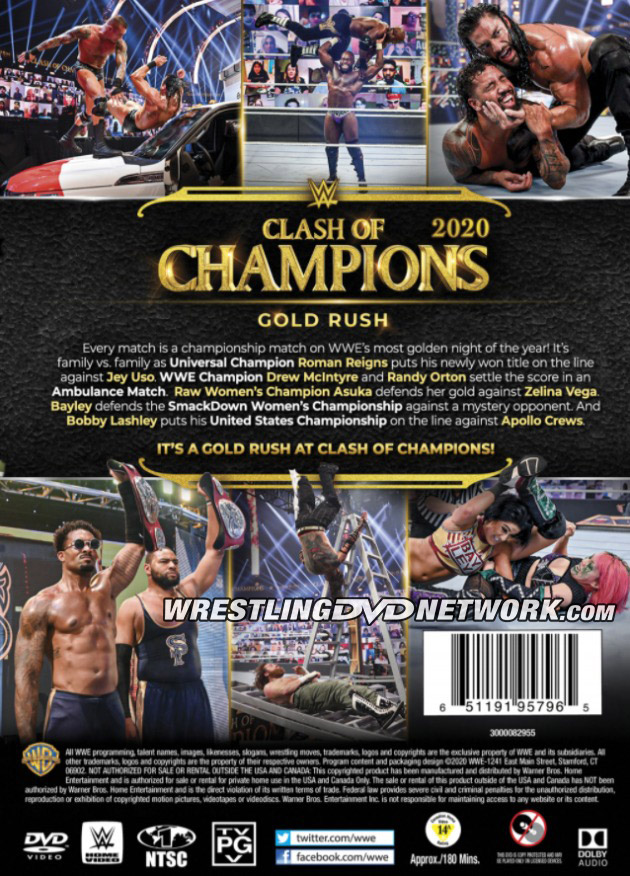 WWE Clash of Champions 2020 DVD - Back Cover Artwork