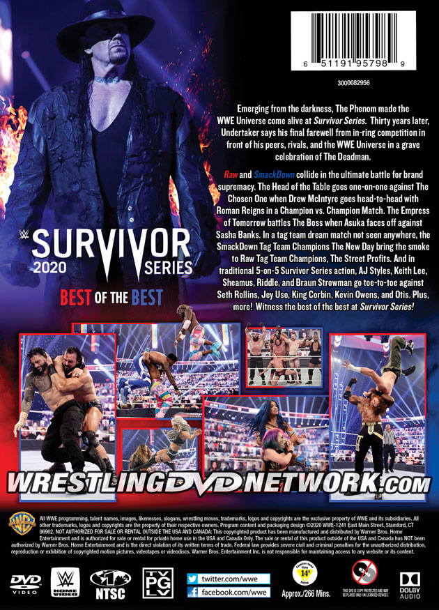 WWE Survivor Series 2020 DVD - Back Cover Artwork