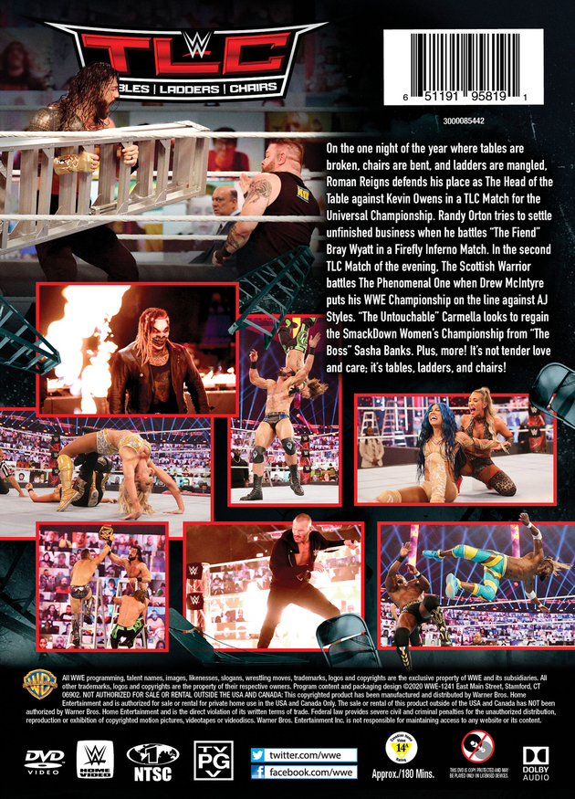 WWE TLC 2020 DVD - Back Cover Artwork