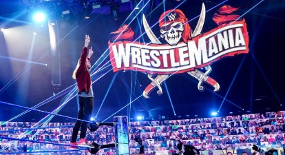 WWE - Edge Posing With WrestleMania 37 Logo In Background