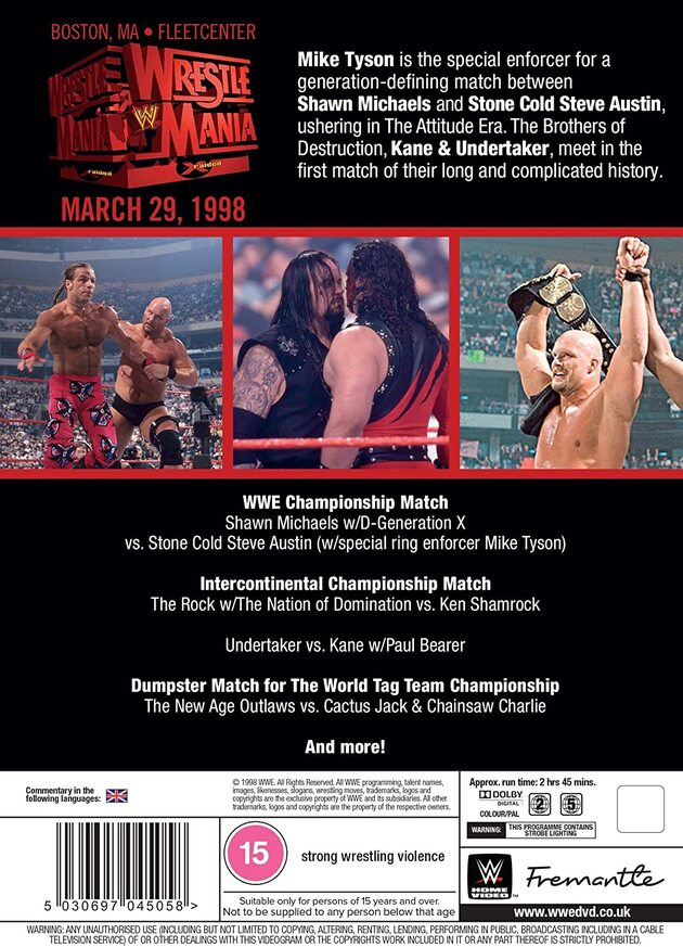 WWE WrestleMania 14 DVD - 2021 Re-Release, Back Cover Artwork