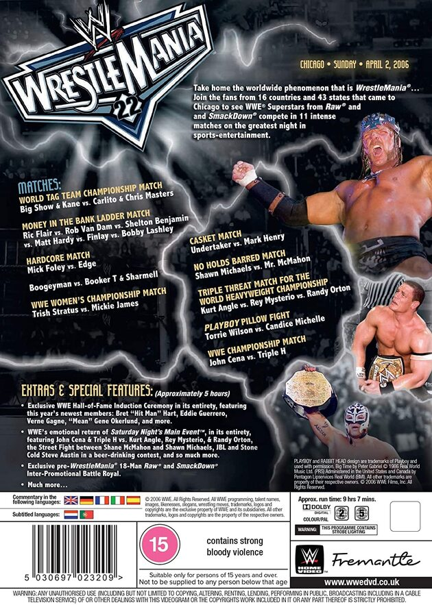 WWE WrestleMania 22 DVD - 2021 Re-Release, Back Cover Artwork