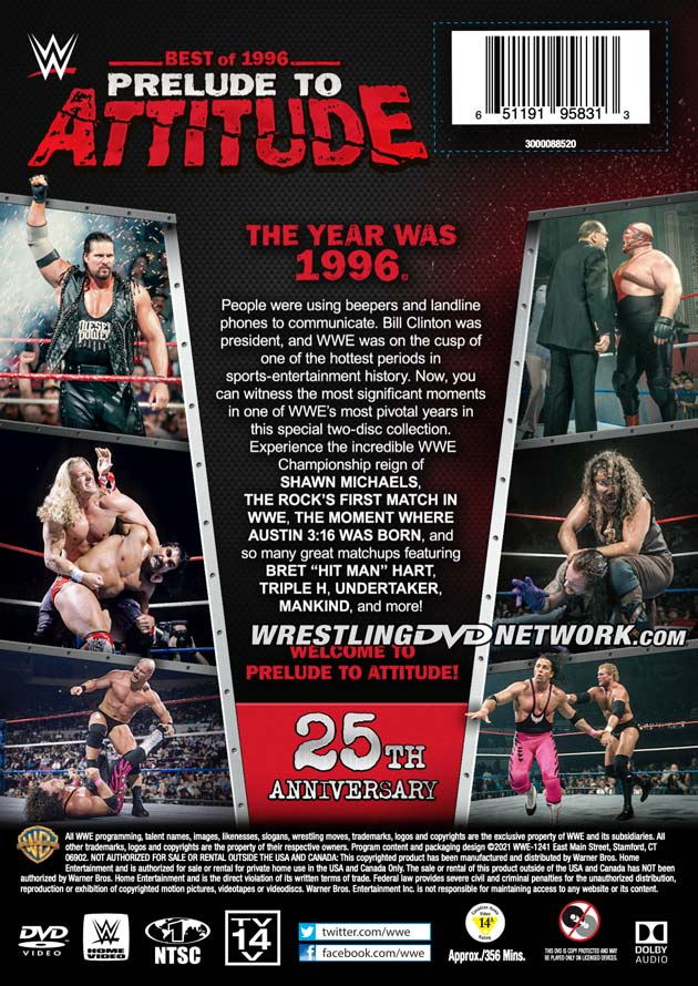 WWE 'Best of 1996 - Prelude to Attitude' DVD - Back Cover Artwork