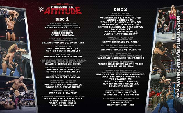 WWE 'Best of 1996 - Prelude to Attitude' DVD - Full Content Listing