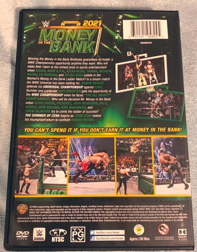 WWE Money in the Bank 2021 DVD - Photos, Back Cover
