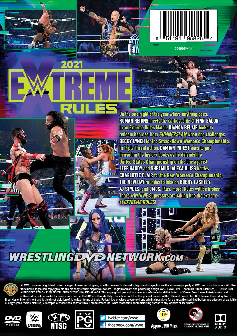 WWE Extreme Rules 2021 DVD - Back Cover Artwork
